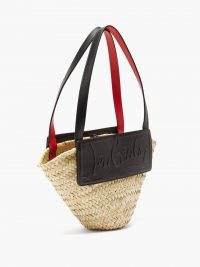 CHRISTIAN LOUBOUTIN Loubishore small leather and straw basket bag / chic logo embossed summer handbag