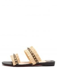 CHRISTIAN LOUBOUTIN Marivodou spike-embellished raffia slides / spiked fringed trim summer flats