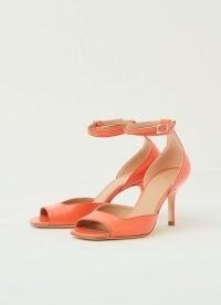 NOREEN CORAL NAPPA LEATHER FORMAL SANDALS ~ bright ankle strap peep toe shoes ~ square open toes