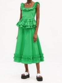 MOLLY GODDARD Oliver frilled square-neck cotton top – green sleeveless peplum tops – summer fashion for women