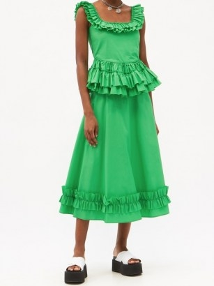 MOLLY GODDARD Oliver frilled square-neck cotton top – green sleeveless peplum tops – summer fashion for women - flipped