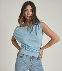 REISS OLIVIA ASYMMETRIC FINE KNIT TOP BLUE ~ wardrobe essentials