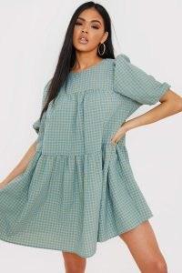 OLIVIA BOWEN SAGE CHECK PRINT PUFF SLEEVE SMOCK DRESS ~ green smocked dresses ~ volume fashion