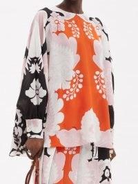 VALENTINO Arazzo-print silk crepe de chine trapeze blouse   floaty vintage style blouses   retro tops
