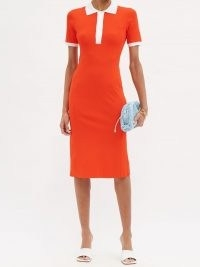 DAVID KOMA Spread-collar jersey midi polo dress – bright orange dresses