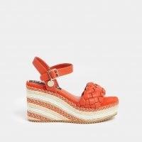 RIVER ISLAND Orange weave faux leather wedge heels / bright summer wedges
