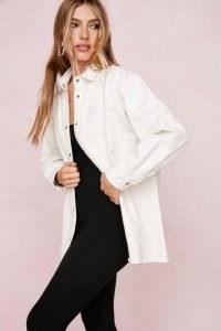 Nasty Gal Organic Button Down Denim Shirt | casual white cotton oversized shirts