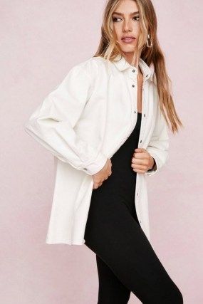 Nasty Gal Organic Button Down Denim Shirt | casual white cotton oversized shirts - flipped