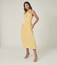 REISS ORLA HALTERNECK MIDI DRESS YELLOW / summer halter neck dresses
