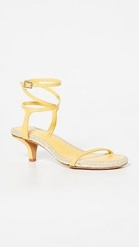 3.1 Phillip Lim Yasmine 50mm Espadrilles / strappy yellow-leather jute trimmed kitten heels