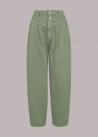 WHISTLES INDIA PLEAT DETAIL JEAN – pale green demin jeans