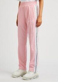 PALM ANGELS Pink striped jersey sweatpants ~ side stripe joggers