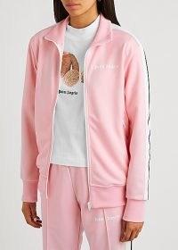 PALM ANGELS Pink striped jersey track jacket ~ logo sports jackets