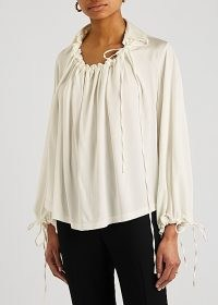 PALMER//HARDING First Moment ivory stretch-jersey blouse ~ romantic blouses