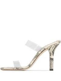 Paris Texas Bella 95mm snake-print sandals / clear double strap mules