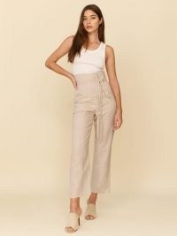 REFORMATION Paros Linen Pant ~ contemporary high waist tie detail summer trousers ~ women's fashion