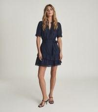 REISS PAULINA EMBROIDERED MINI DRESS BLUE