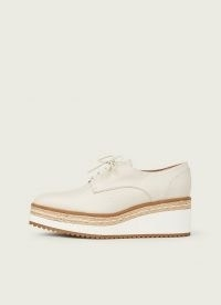 L.K. BENNETT PEMBRIDGE OFF-WHITE LEATHER PLATFORM LACE-UPS / oxford platforms / flatform shoes / stylish flatforms