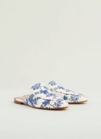 L.K. BENNETT PEMBROOKE TOILE DE JOUY PRINT LEATHER BACKLESS LOAFERS | stylish slip on flats