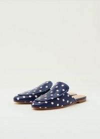 L.K. BENNETT PEMBROOKE NAVY AND CREAM SPOTTY LEATHER BACKLESS LOAFERS ~ dark blue flat polka dot mules