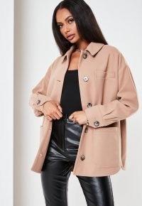 MISSGUIDED petite camel oversized pocket shacket ~ light brown shackets
