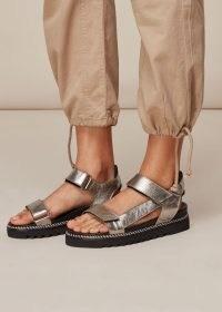 WHISTLES NOAH SPORTY VELCRO SANDAL PEWTER ~ metallic summer sandals