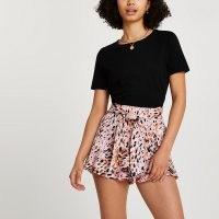 RIVER ISLAND Pink animal print frill hem shorts / tie waist detail