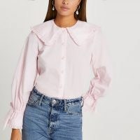 River Island Pink collar frill shirt / ruffle trim shirts with oversized collars and tie cuff detail