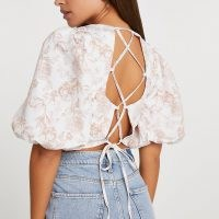 River Island Pink cross back crop top   strappy detail tops