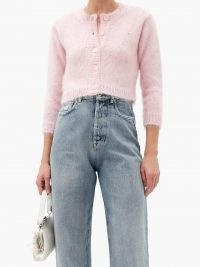 MIU MIU Crystal-embellished mohair-blend cardigan – fluff pink cropped cardigans