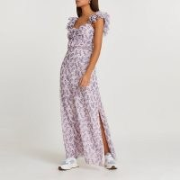 RIVER ISLAND Pink floral frill sleeve midi dress / ruffle shoulder strap summer dresses