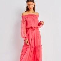SaintBy Grace Raspberry Pink Silk Maxi Dress / boho bardot dresses / off the shoulder