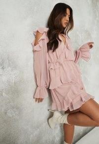 MISSGUIDED pink ruffle wrap cold shoulder mini dress – romantic ruffles