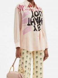 CHLOÉ Slogan-print silk crepe de Chine shirt ~ women's pink shirts ~ graphic slogans on fashion
