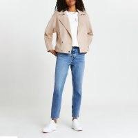 River Island Pink suedette drop sleeve biker jacket – faux suede jackets