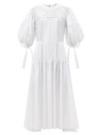 JIL SANDER Pintucked cotton maxi dress   white puff sleeve summer dresses