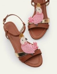 BODEN Pippa Sandals Tan Cockatoo / bead embellished flats