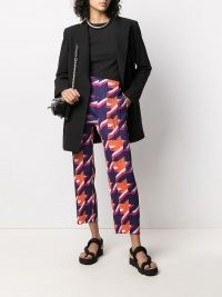 Pleats Please Issey Miyake pleated houndstooth trousers / cropped checked pants / contemporary checks