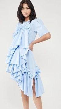Preen By Thornton Bregazzi Emi Dress in blue / ruffled asymmetric dresses