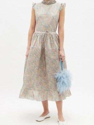 HORROR VACUI Cindy pintucked floral-print cotton dress – frill trimmed spring dresses – feminine summer occasion clothing – voluminous occasionwear