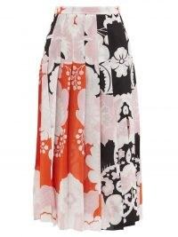 VALENTINO Pleated Arrazo-print silk-crepe midi skirt | floaty printed skirts
