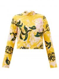 MARNI Tie-back floral-print cotton top / yellow long sleeve slogan tops