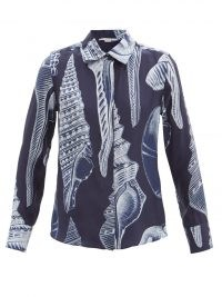 STELLA MCCARTNEY Willow shell-print silk-crepe shirt / women's navy printed shirts
