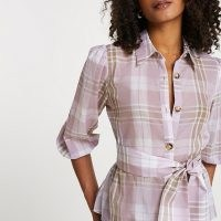RIVER ISLAND Purple belted check shirt / checked tie waist shirts
