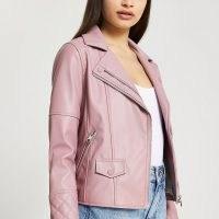 RIVER ISLAND Purple faux leather double zip biker jacket