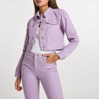 River Island Purple shoulder pad denim jacket | women's casual cropped jackets
