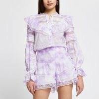 River Island Purple tie dye long sleeve blouse top