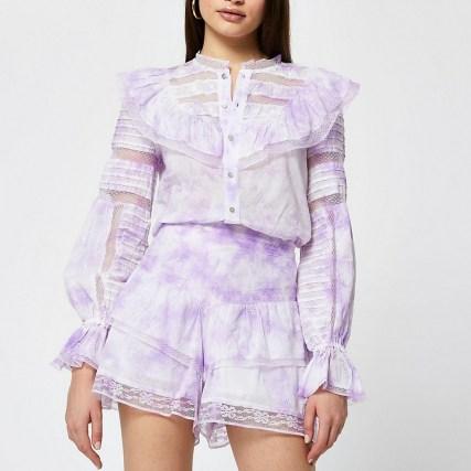 River Island Purple tie dye long sleeve blouse top - flipped