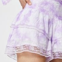 River Island Purple tie dye ruffle shorts – floral lace trim short