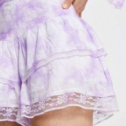 River Island Purple tie dye ruffle shorts – floral lace trim short - flipped